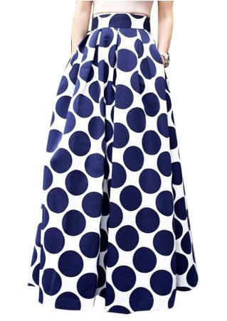 Polka Dot Side Zipper Long Skirt Polka