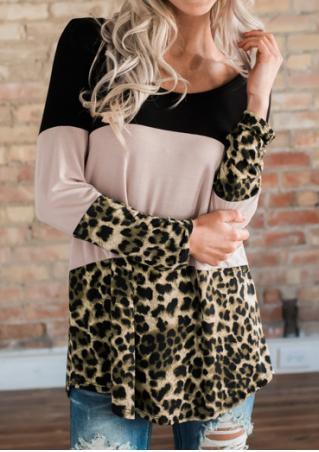 Color Block Leopard Printed Back Button Blouse