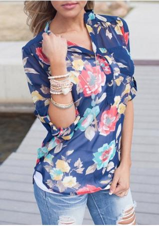 Floral Front Pocket See-Through Blouse Without Necklace