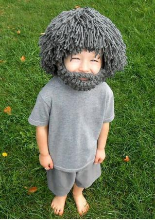 Solid Knitted Wig Hat With Mask For Kid