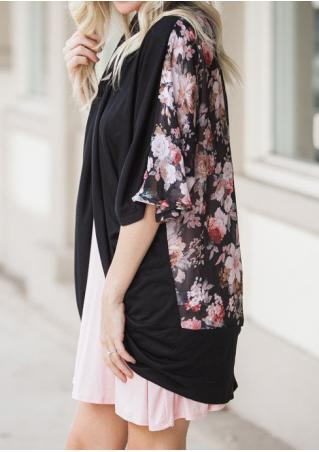 Floral Chiffon Splicing Loose Cardigan
