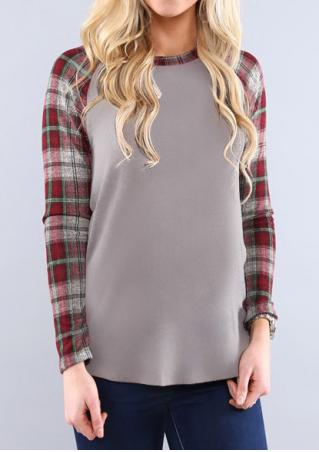 Plaid Splicing Asymmetric Long Sleeve T-Shirt