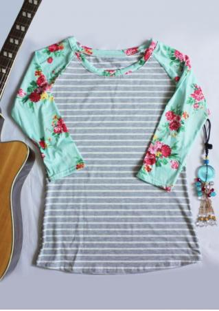 Striped Floral Splicing Three Quarter Sleeve T-Shirt