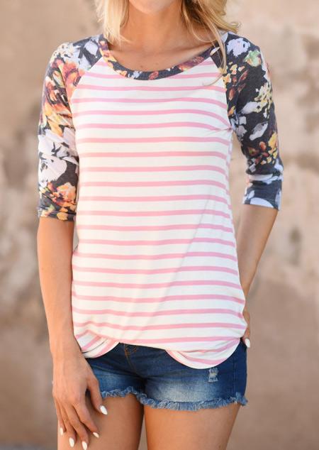 Floral Striped Three Quarter Sleeve T Shirt Fairyseason