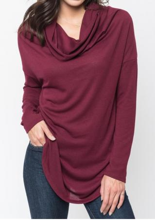 Solid Draped Long Sleeve Blouse