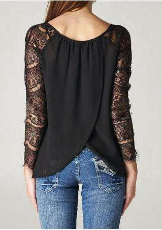 Solid Lace Splicing Back Cross Blouse