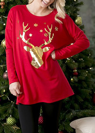 Christmas Sparkle Reindeer Loose Blouse