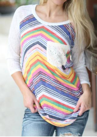 Multicolor Lace Pocket Splicing Blouse