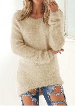 Solid Long Sleeve Asymmetric Sweater
