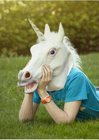 Creepy Unicorn Halloween Costume Mask Creepy
