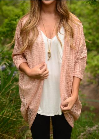 Solid Asymmetric Hollow Out Cardigan Without Necklace