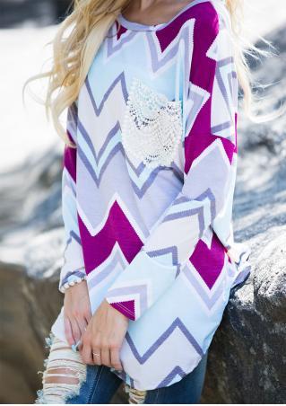 Zigzag Printed Lace Pocket Blouse