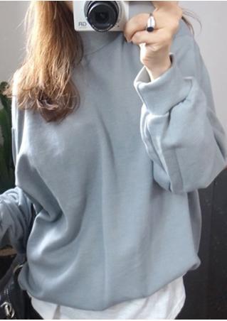 Solid O-Neck Long Sleeve Sweatshirt