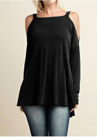 Solid Asymmetric Off Shoulder Long Sleeve Blouse