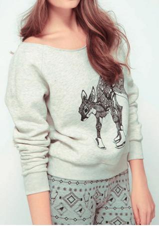 Deer Printed Long Sleeve T-Shirt Deer