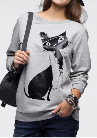 Cat Printed Casual Sweatshirt Cat