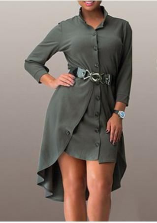 Solid Asymmetric Button Dress Solid