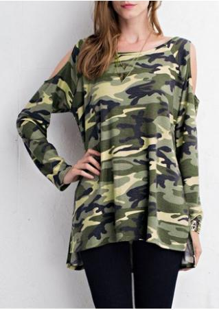 Camouflage Printed Off Shoulder Blouse Without Necklace Camouflage