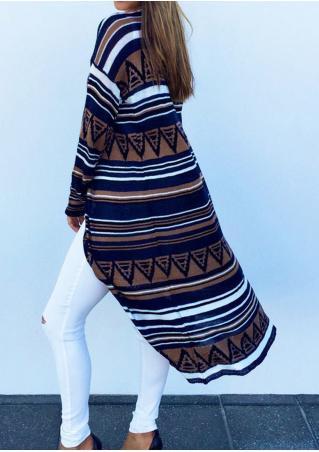 Striped Geometric Printed Long Sleeve Cardigan