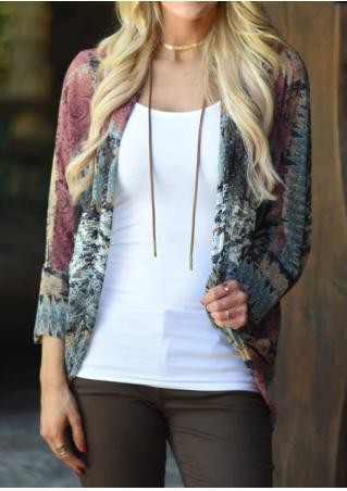 Printed Three Quarter Sleeve Cardigan Without Necklace