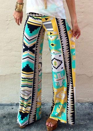 Geometric Printed Wide Leg Pants
