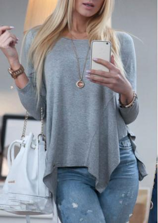 Solid Asymmetric Hem Casual Blouse