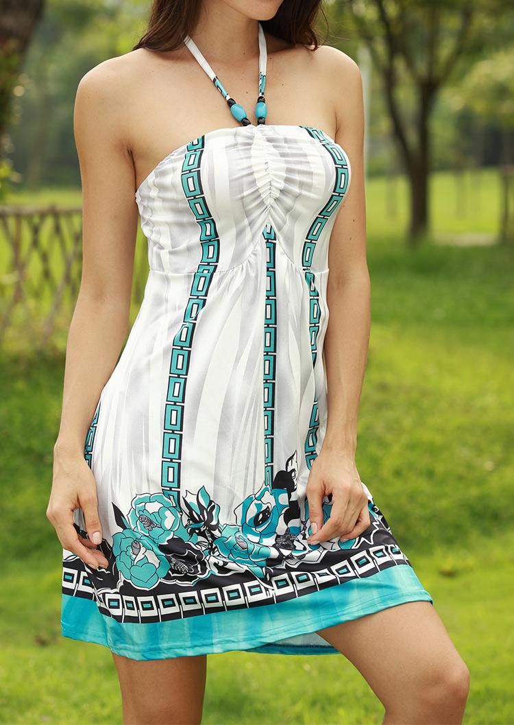 Rochie scurtă, fashion, cu imprimeu floral, fără mâneci