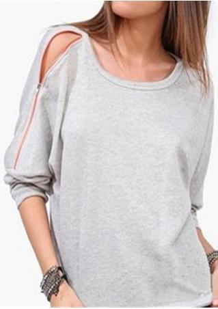 Solid Zipper Sleeve Casual Sweatshirt