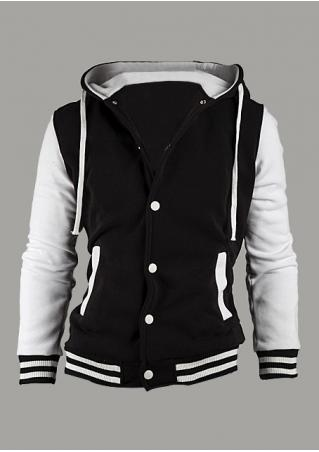 Color Block Button Casual Hoodie