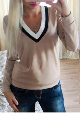 Color Block T-Shirt Without Necklace Color