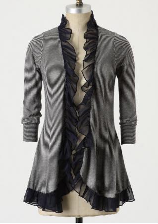 Striped Ruffled Splicing Cardigan