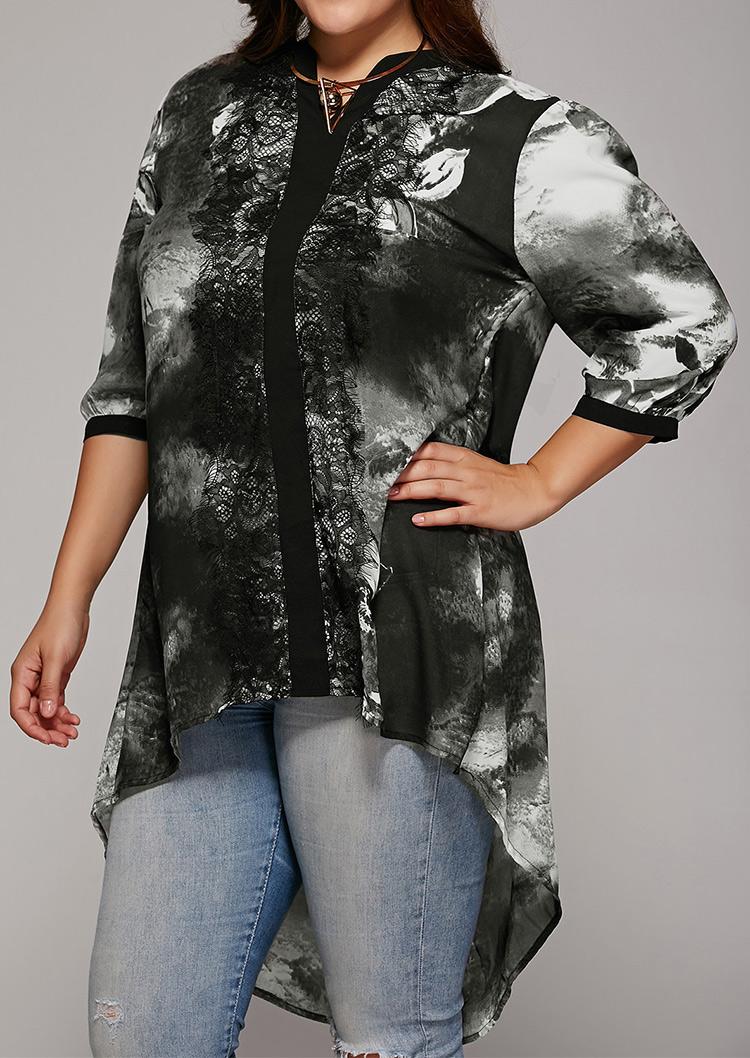 Bluză de damă, fashion, din poliester, cu imprimeu și inserții din dantelă, mărimi plus size
