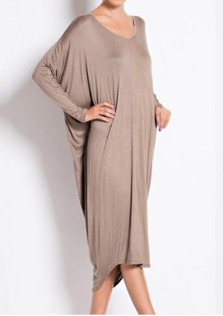 Solid Back Hollow Out Loose Dress Solid