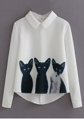 Cat Printed Back Zipper Blouse Cat