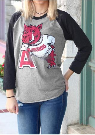 Boar Printed O-Neck T-Shirt Without Necklace Boar