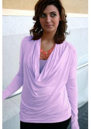 Solid Draped Long Sleeve Blouse Without Necklace Solid