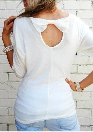 Solid Back Bow O-Neck Blouse