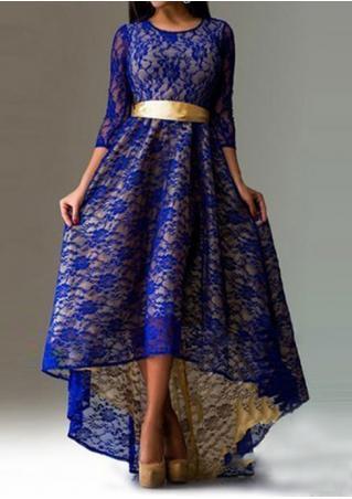 Asymmetric Tie Maxi Lace Dress Asymmetric