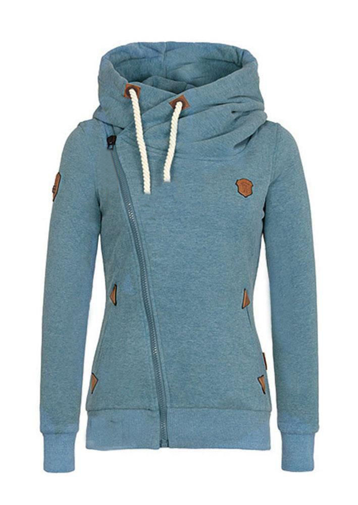 Solid Side Zipper Pocket Hoodie Fairyseason