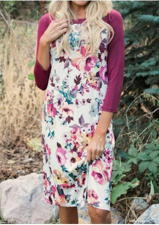Floral Printed Splicing Casual Dress