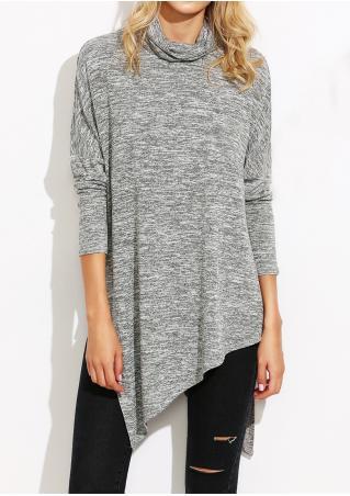 Asymmetric Slit Long Sleeve Blouse Asymmetric