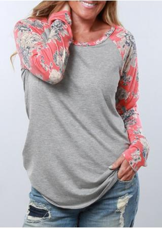 Floral Splicing Long Sleeve O-Neck  Blouse