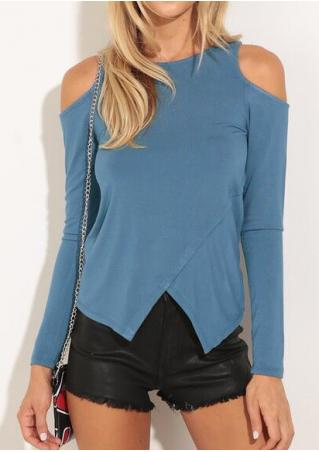Solid Asymmetric Cross Off Shoulder Blouse