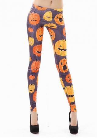 Halloween Pumpkin Printed Stretchy Leggings