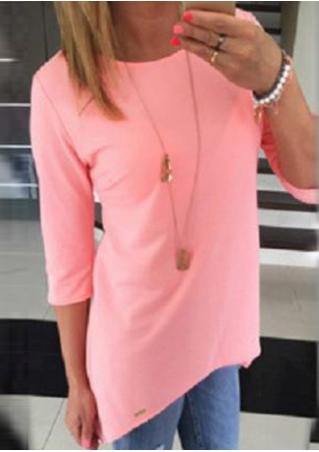 Solid Casual Asymmetric Blouse Without Necklace