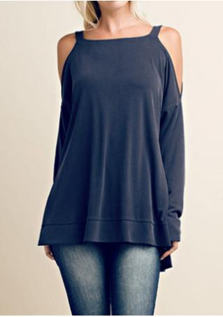 Solid Asymmetric Off Shoulder Square Collar Blouse Solid