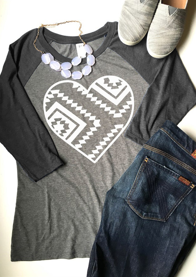 Heart Printed O Neck T Shirt Fairyseason