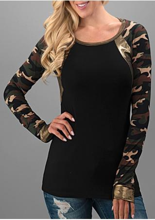 Camouflage Printed PU Splicing T-Shirt Camouflage