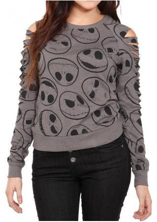 Christmas Jack Heads Printed Hollow Out Blouse
