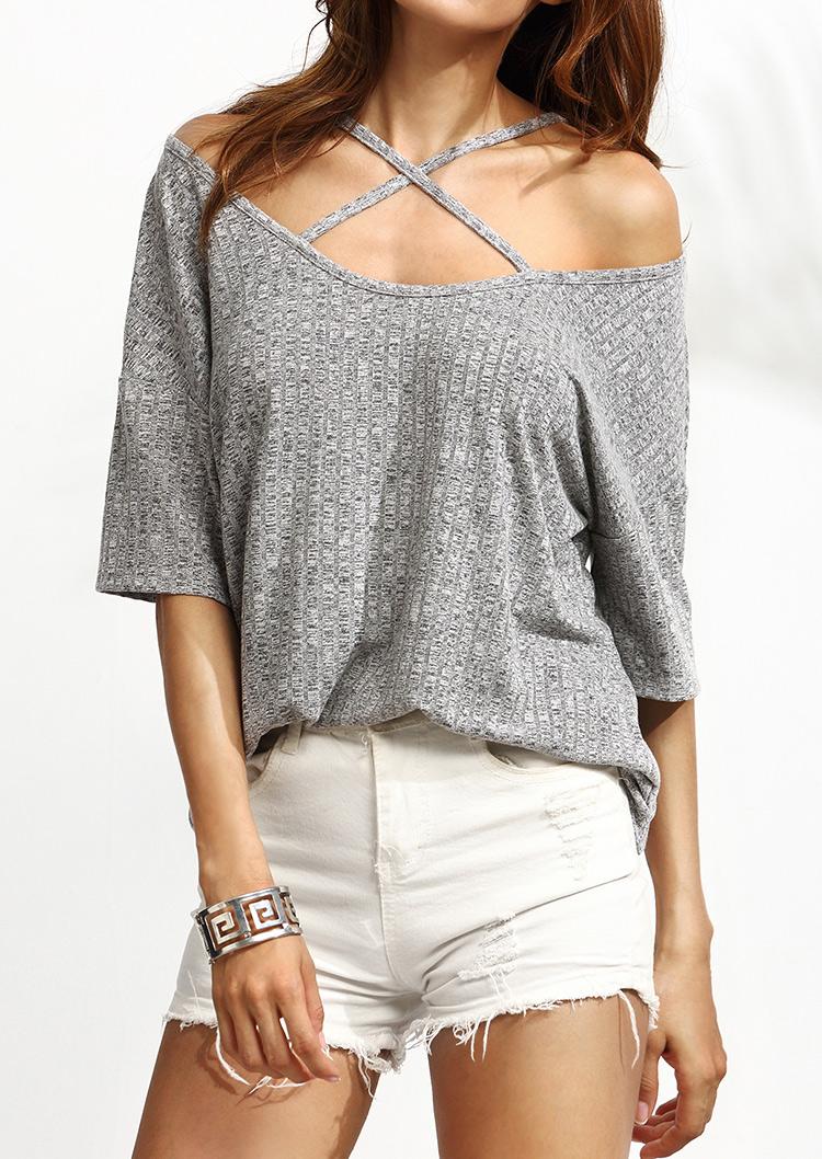 Bluză de damă, fashion, slim fit, din poliester, cu mâneci scurte și umerii goi